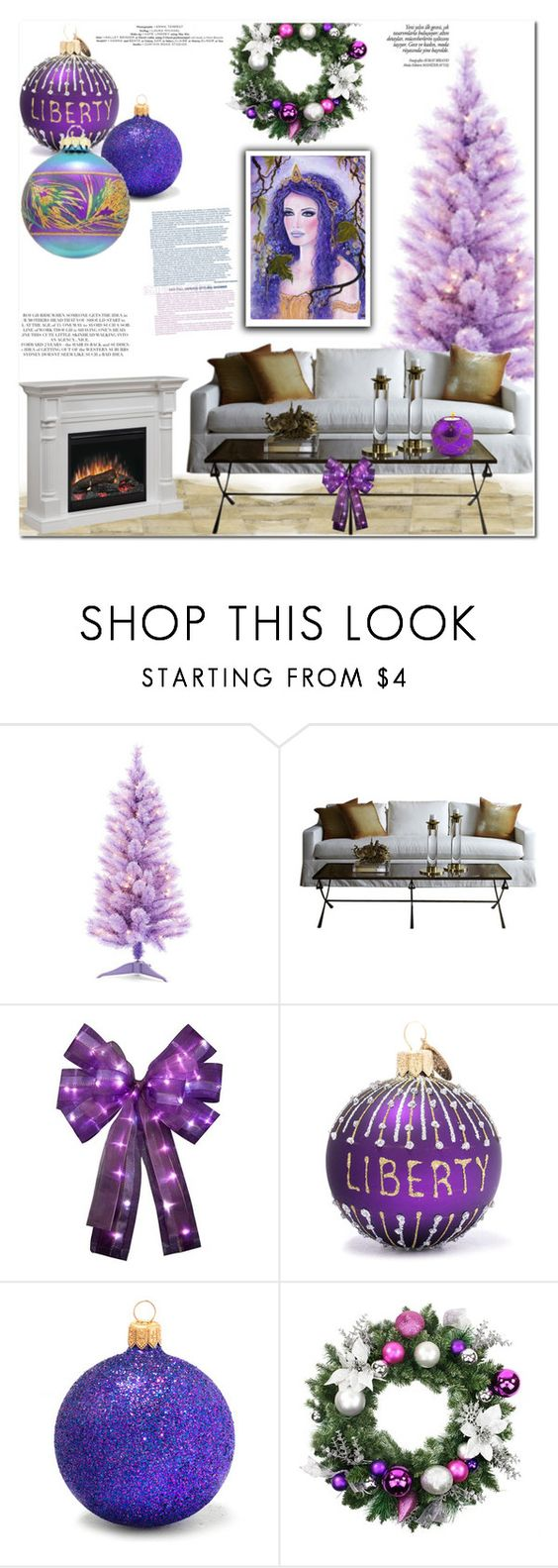 """""""Purple Xmas"""" by es-vee ❤ liked on Polyvore featuring interior, interiors, interior design, home, home decor, interior decorating and Rachel"""