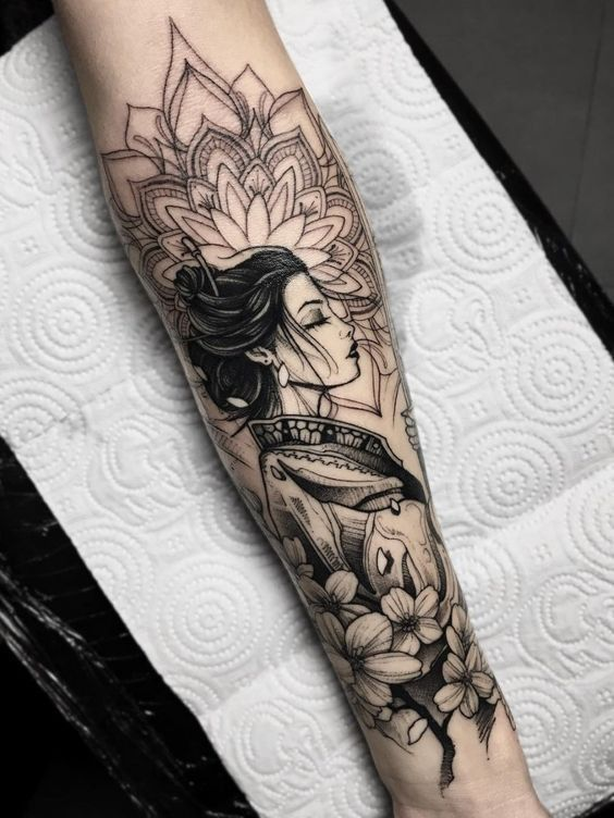 Beautiful Geisha Tattoo In A Kimono Tattooed On The Arm Www Otziapp Com Forearm Tattoo Women Arm Tattoos For Women Arm Tattoo