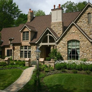 French Stone And Stucco Homes Spaces Brown Brick Stone