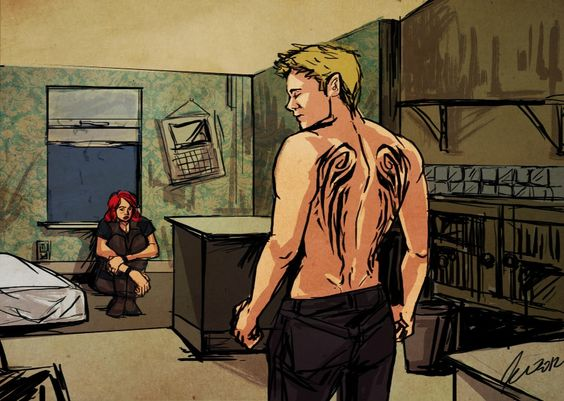 breathless - Aripâ - (I really like the idea of Hawkeye with wing tats. For Reasons