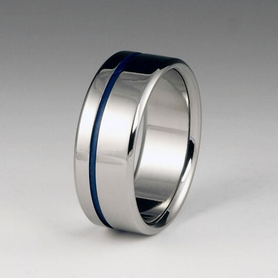 Titanium Ring With One Offset Blue Pinstripe Blue Titanium Ring Titanium Wedding Rings Titanium Rings