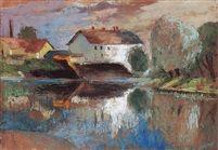 Zebegényi részlet tükrözödö fehér malommal Oil on Canvas 70 x 100 cm