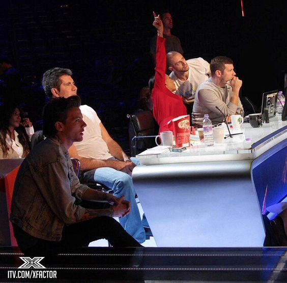 Louis today at X factor rehearsals