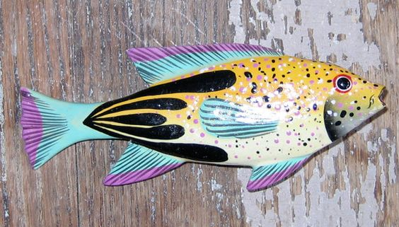 Brightly Painted Wood Fish Pin by artquest7 on Etsy, $18.00