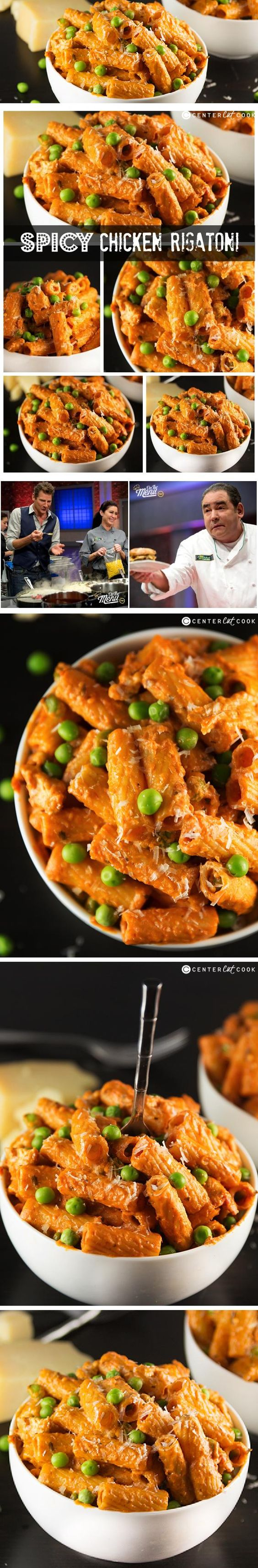 SPICY CHICKEN, tons of garlic, a combo of alfredo and marinara sauce, and a handful of peas make up this SPICY CHICKEN RIGATONI, one of my favorite pasta DISHES of all time from the restaurant BUCA DI Beppo.