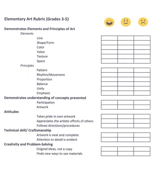 Art Rubrics Elementary Grade Level Ms Katie Cole - Classroom - technical assessment template