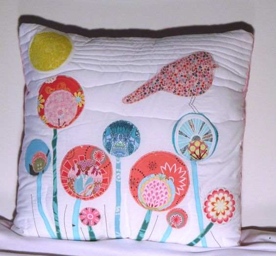 And her matching pillow.  The design was created originally by Tupalo Baby on Flickr... but modified to match Kristina's quilt!
