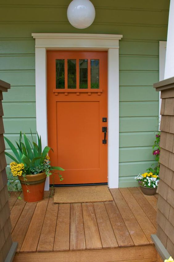 sensational color combos are a front door and a house both