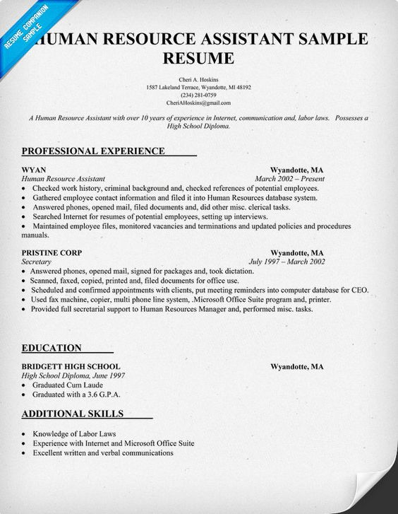 human resource assistant resume sample resumecompanioncom hr hr field pinterest resume examples career search and life hacks