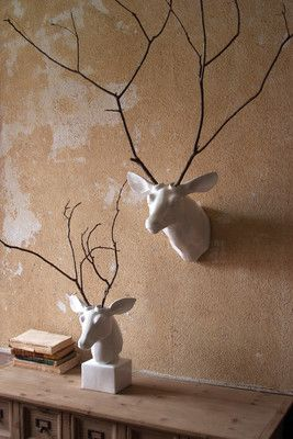 "Make a statement in your home with this wall mounted ceramic deer head. The branches are not included, so create your own unique display using twigs from the yard, dried florals, cotton bolls... the sky is the limit! Change the antlers out, or spruce them up for seasonal fun. 12½"" x 15"" x 12""t"