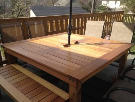 Simple Square Cedar Outdoor Dining Table Do It Yourself 640 x 480