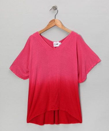 Take a look at this Red & Pink Fade Superhero Top - Girls by Erge on #zulily today!