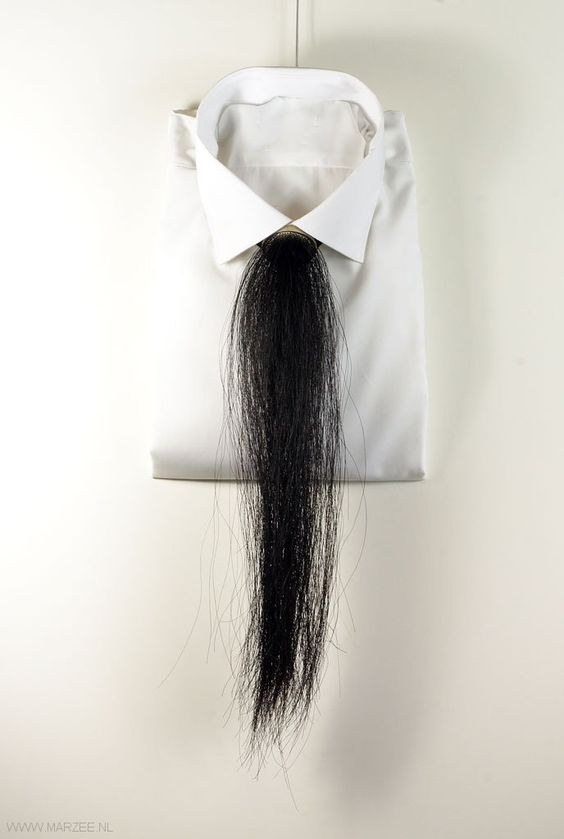 Marie Masson - necklace Cravate 2011, silver, horse hair, ribbon: