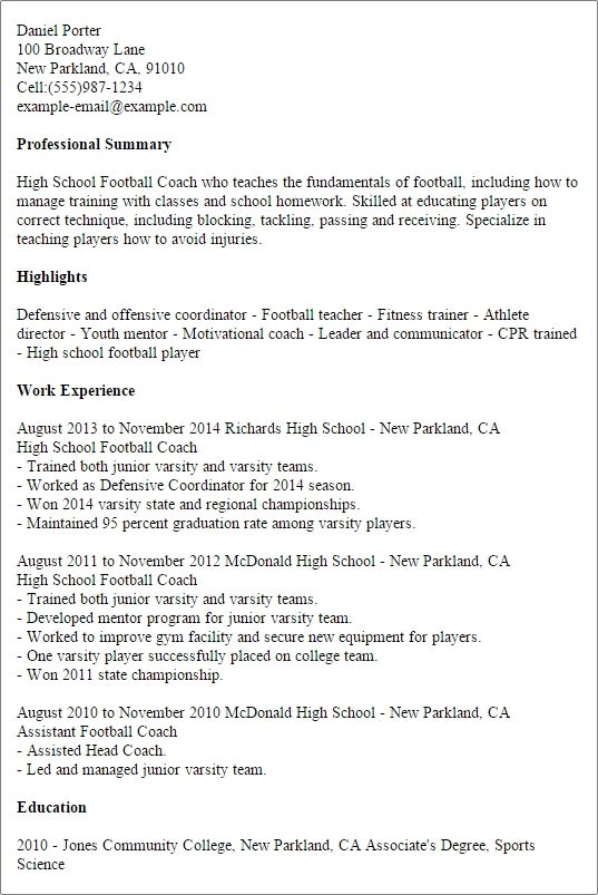 1 High School Football Coach Resume Templates Try Them Now School Coach School Football High School Football