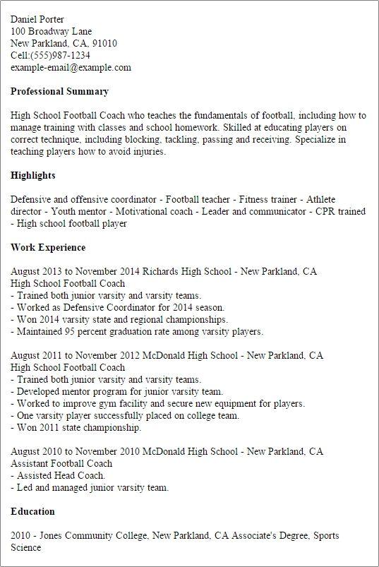 1 High School Football Coach Resume Templates Try Them Now School Football High School Football School Coach