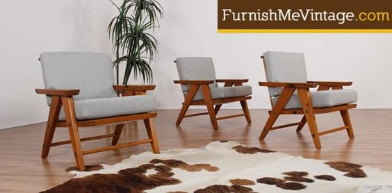 3 Matching Solid Pine Retro Arm Chairs