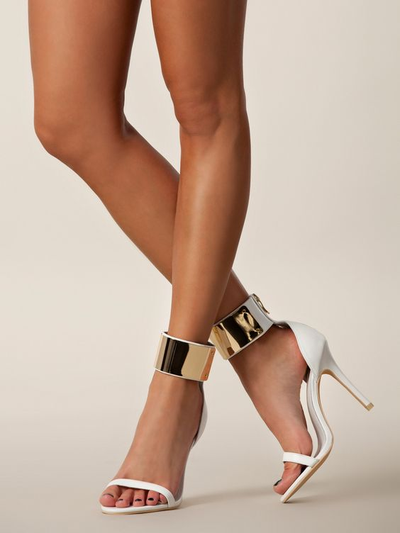White sandals, Sandal heels and Metallic gold on Pinterest