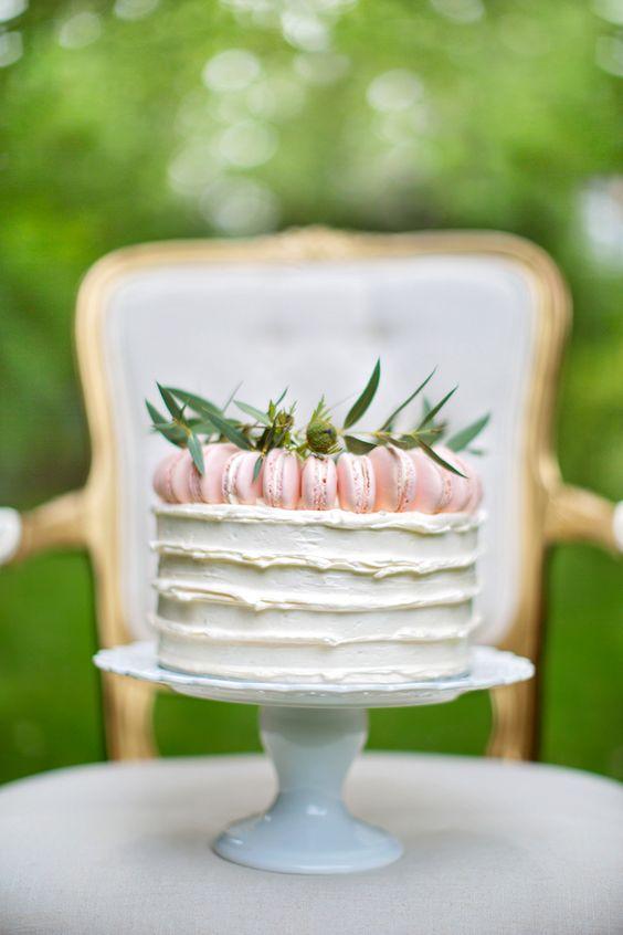Macaron topped cake | Maru Photography | see more on: http://burnettsboards.com/2014/08/hidden-garden-bridal-inspiration/