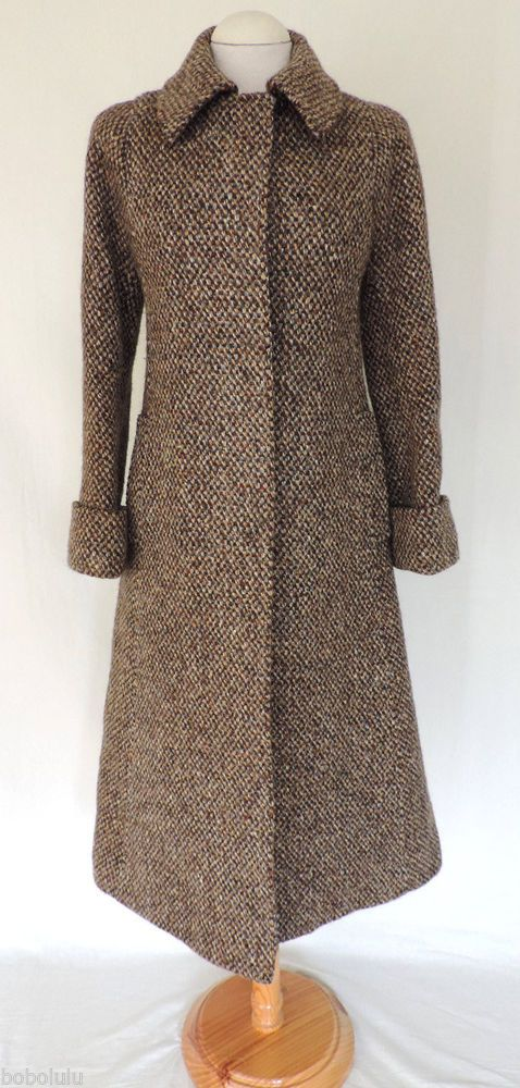 Vintage Aquascutum Tweed Coat 14 - 16 Ladies Women&39s Black Brown
