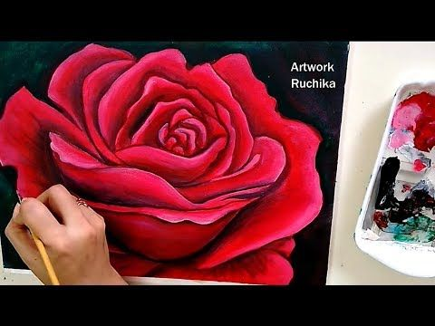 Attractive Red Rose Painting Acrylic Painting Tutorial Youtube Rose Painting Acrylic Acrylic Painting Flowers Rose Painting