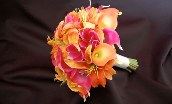 Floramatique (Real touch) Sunset Orange and Fuchsia Bouquet