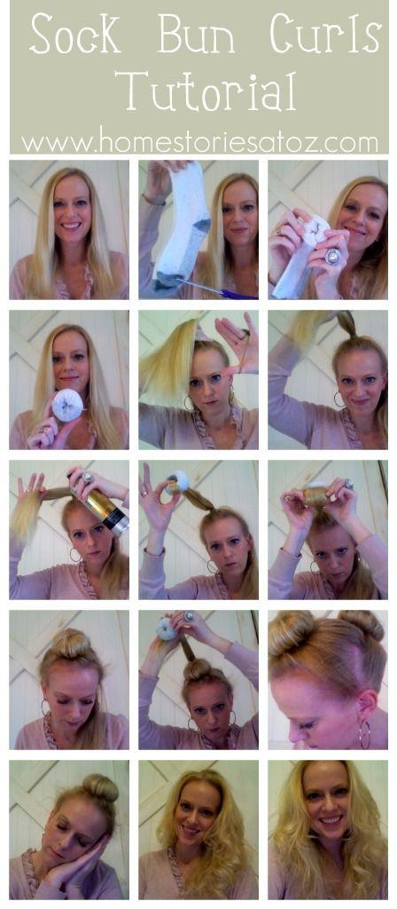 Sock bun curls (no heat!): Hair Styles, Sockbun, Hair Tutorial, Hair Beauty, Sock Bun Curls, Hair Makeup, Hairstyle, Sock Buns