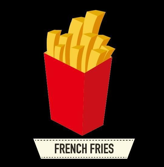 Fond Noir Avec Vector Illustration Fries Français