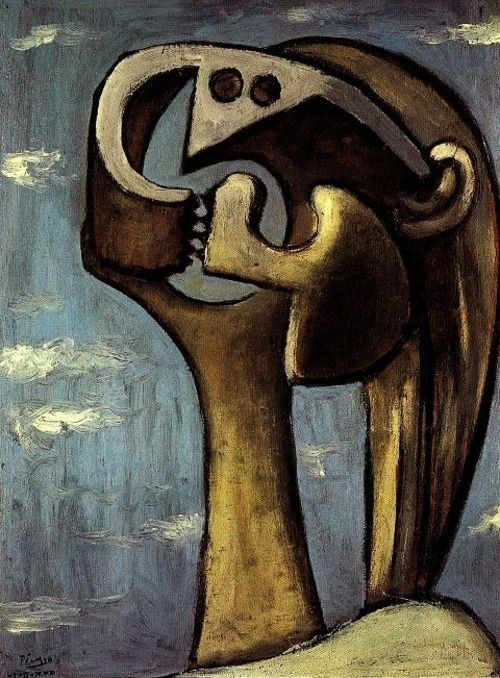 #PabloPicasso. #painting #Cubism; noun: a style of painting and sculpture developed in the early 20th century, characterized chiefly by an emphasis on formal structure, the reduction of natural forms to their geometrical equivalents, and the organization of the planes of a represented object independently of representational requirements.: