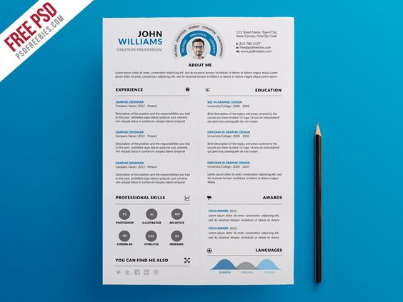 Download Clean and Infographic Resume PSD Template. This Clean and ...