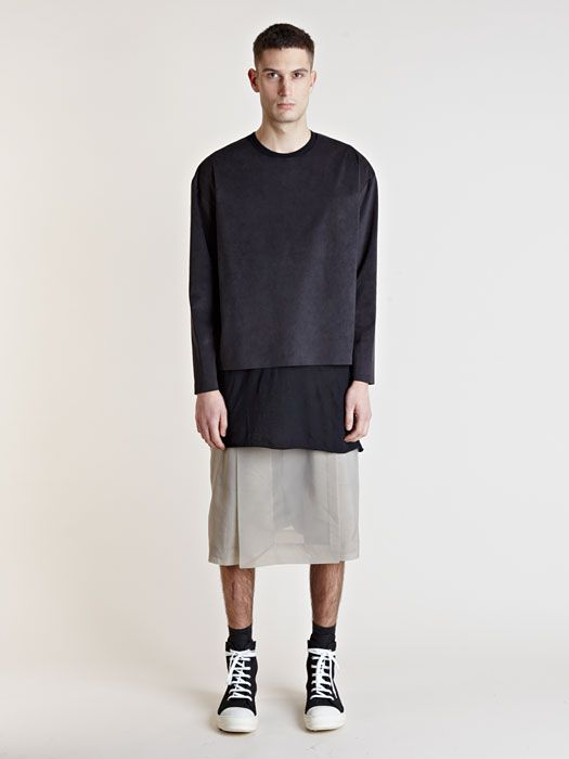 Rick Owens Mens Central Panel Shorts: