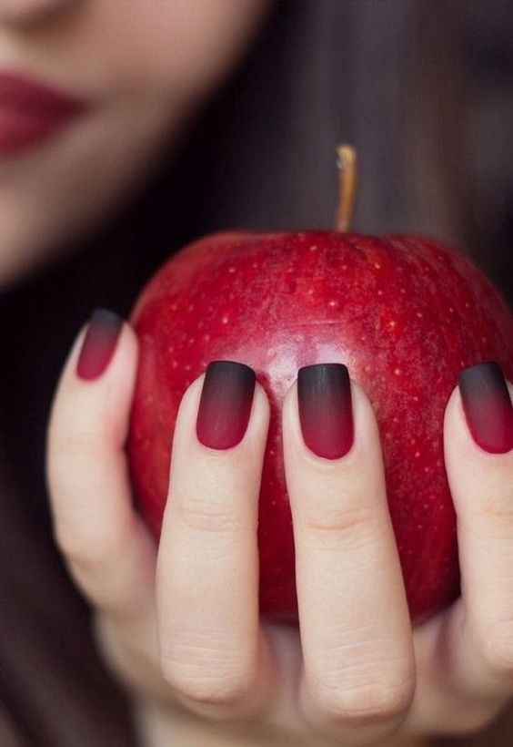Dark Black and Bloody Ombre Nails.
