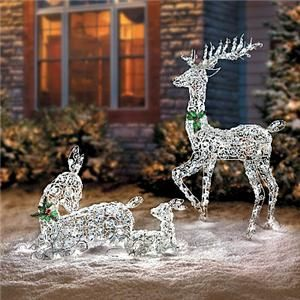Reindeer yard art and yards on pinterest for Pre lit outdoor decorations