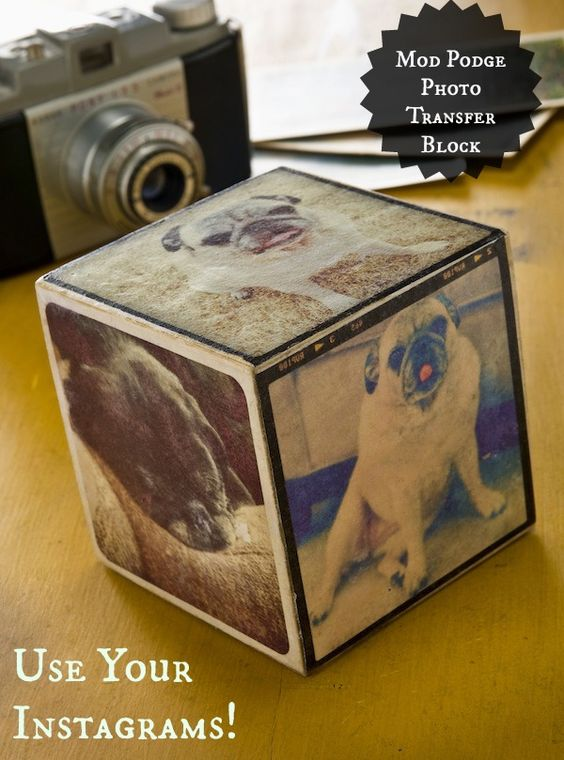 Make a Mod Podge photo transfer Instagram cube