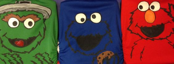 Seasame Street Cookie Monster, Elmo, Oscar the Grouch painted cloth diaper of your choice!