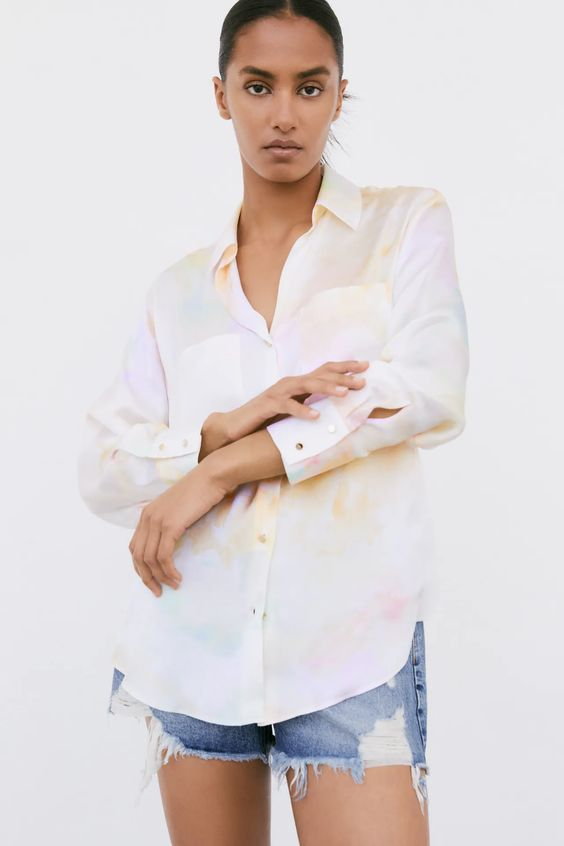 SATIN SHIRT WITH TIE-DYE EFFECT Zara