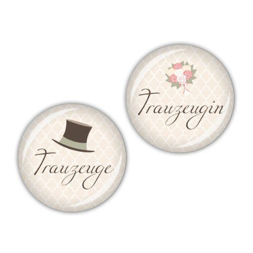 """lijelove Buttons, 04-01RB, """"Darling"""" Trauzeugen, creme, 25 mm"""