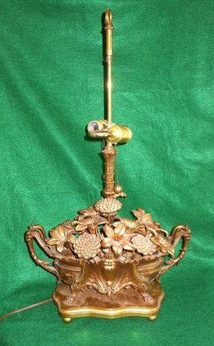 Vintage Hollywood Regency Lamp Decor Heavy Brass Flowers Rams Vessel Mangurian