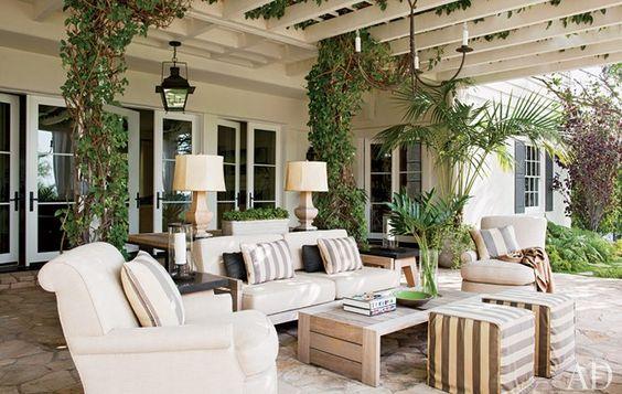 gorgeous outdoor patio...  love the stone flooring.