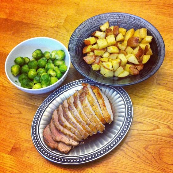 Roast Pork, Potatoes, and Brussels Sprouts. Yummo!