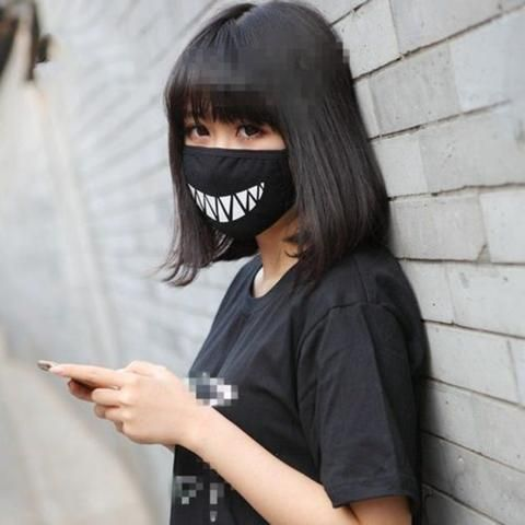 Black Anime Mask Health Cycling Anti Dust Mouth Face Teeth Design