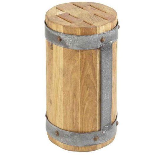 Reclaimed Wood Round Galvi Knife Block