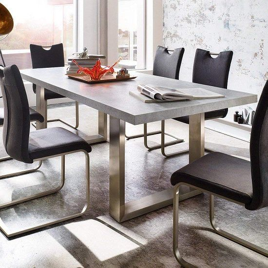 Savona Rectangular Dining Table In Grey With Stainless Steel Legs Finish Wood Grey Finish Sealed Stone Look Small Dining Table Diner Table Large Dining Table