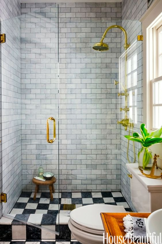 Amy Meier designed bathroom with walk-in shower with brass fixtures. Jo Malone London Body & Hand Wash (In case you need it!)
