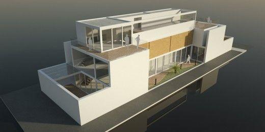Casa implantada em lote urbano cercada por altos muros,gerando a criação de um patio interno. Área de lazer e piscina na cobertura aproveitamento da insolação.