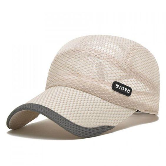 Stylish Embellished Rubber and Mesh Baseball Cap For Men