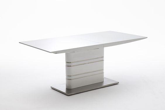 Esszimmertisch Glanz Säulentisch ausziehbar Hochglanz Weiß Material: Platte: Hochglanz weiß lackiert Säule: Hochglanz weiß lackiert mit Edelstahl - Applikation...