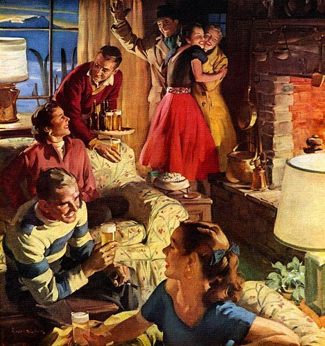 "U.S. ""Weekend in the Ski Country"", 1955.  U.S. Brewers Foundation //  by Haddon Sundblom  (1899-1976). ""Sundblom gets pigeonholed as the painter of Coca-Cola Santa Clauses, but this trivializes his central place in 20th century advertising art. More than any artist including Norman Rockwell, Sundblom defined the American Dream in pictures, proved by his work for virtually the entire Fortune 500.:"