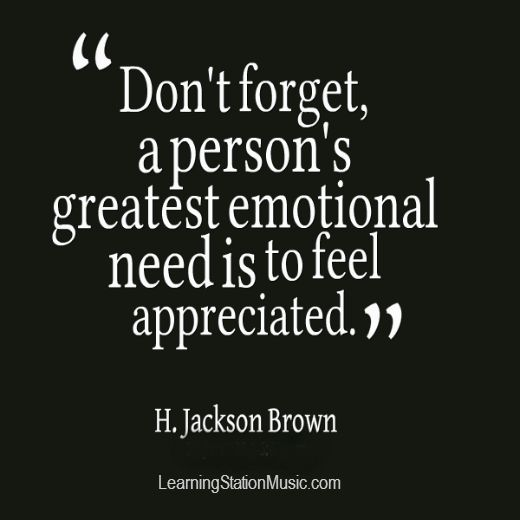 Feeling appreciated for what we do is the greatest inspiration we can receive. So take the time to appreciate the people in your life for even the little things they do. They will value your words and it will make their entire day! #quote #appreciation