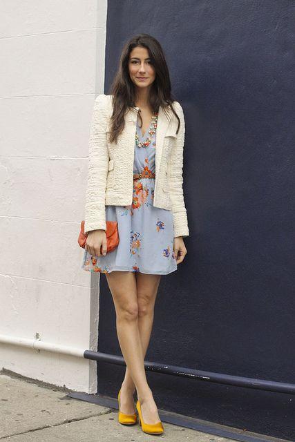 Jacket: Zara, Dress & belt: Cynthia Vincent, Shoe: Seychelles, Necklaces: J. Crew, Bag: Call it Spring