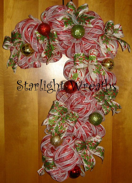 Candy Cane Mesh Wreath Holiday Decor by StarlightWreaths ...